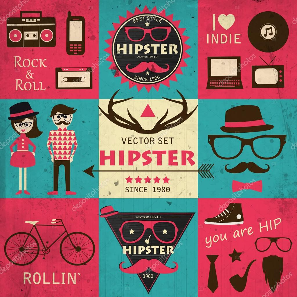 Hipster retro infographics