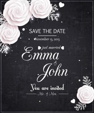 Vintage Save the date wedding invitation with paper flowers, scrapbook elements and place for text