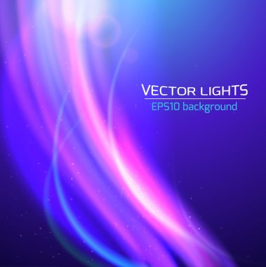 Abstract bright cosmic background with blurred light rays. Vector illustration