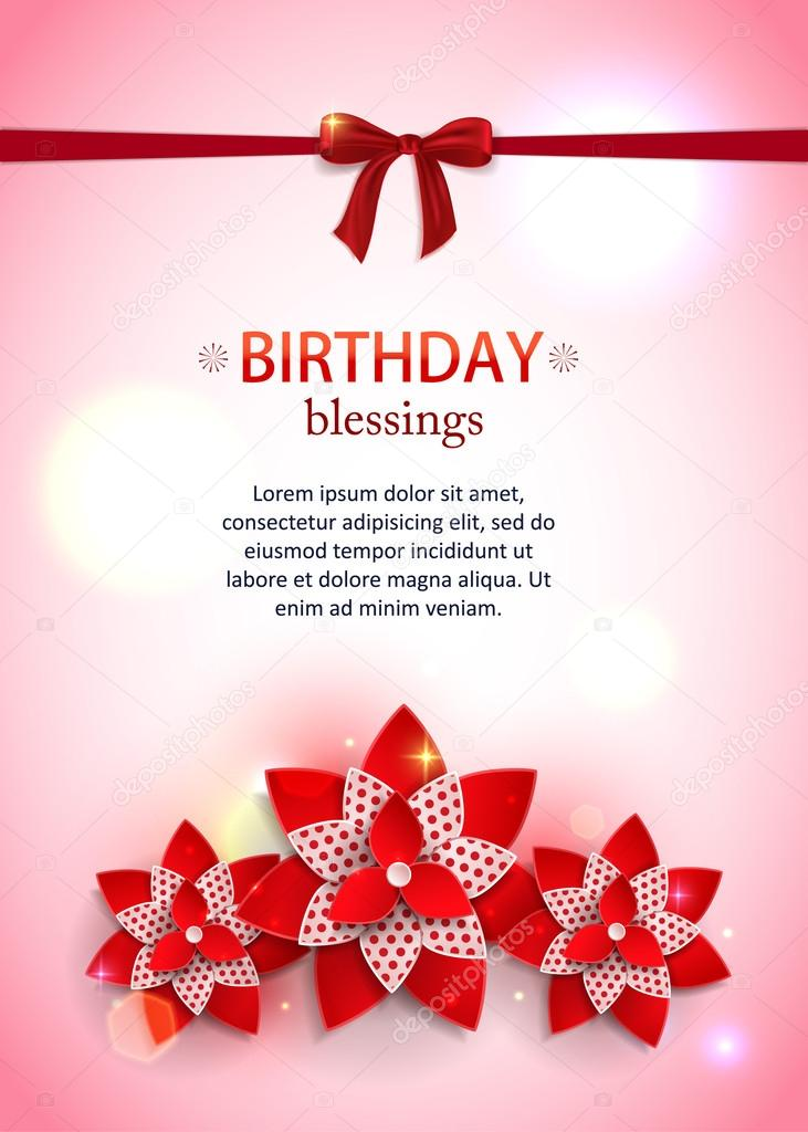 Birthday Vertical Floral Holiday Background With A Bow Paper Flowers Blurred Bokeh Lights And