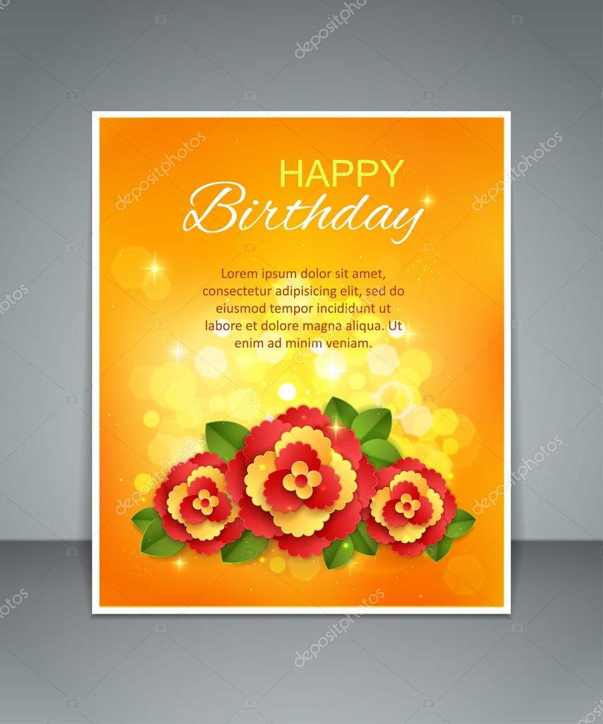 Birthday Floral Holiday Background With Paper Flowers Blurred Bokeh