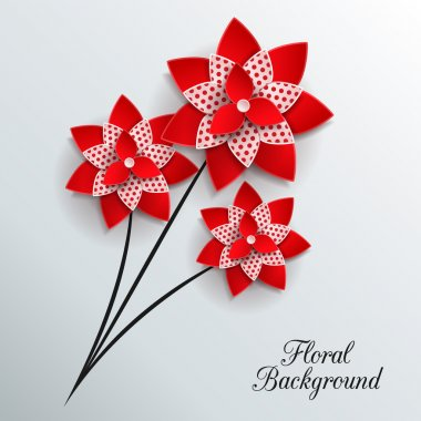 Romantic background with three 3d paper flowers
