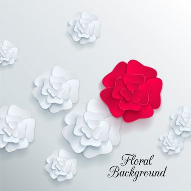 Romantic background with 3d white and red paper flowers
