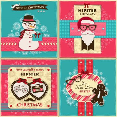 Set of four vintage Hipster christmas greeting cards with paper hipster icons
