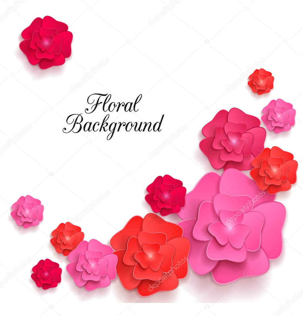 Romantic Background With 3d Paper Flowers Stock Vector