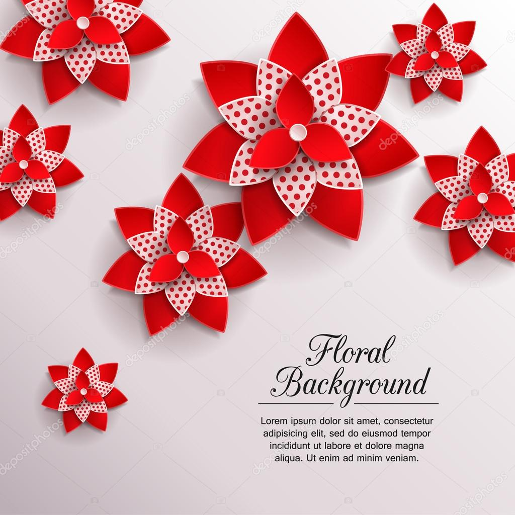 Romantic background with 3d paper flowers