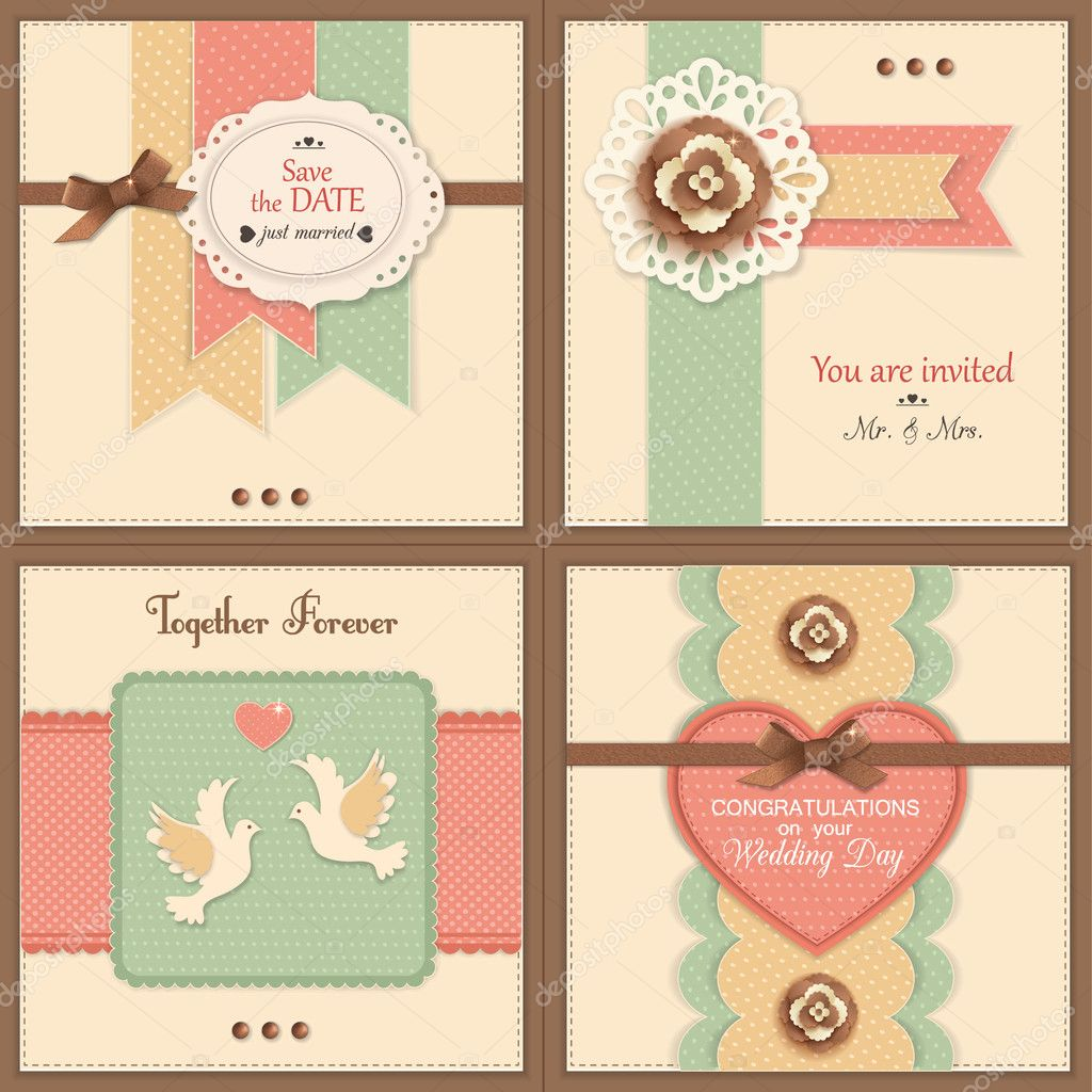Set of four vintage wedding backgrounds with paper flowers