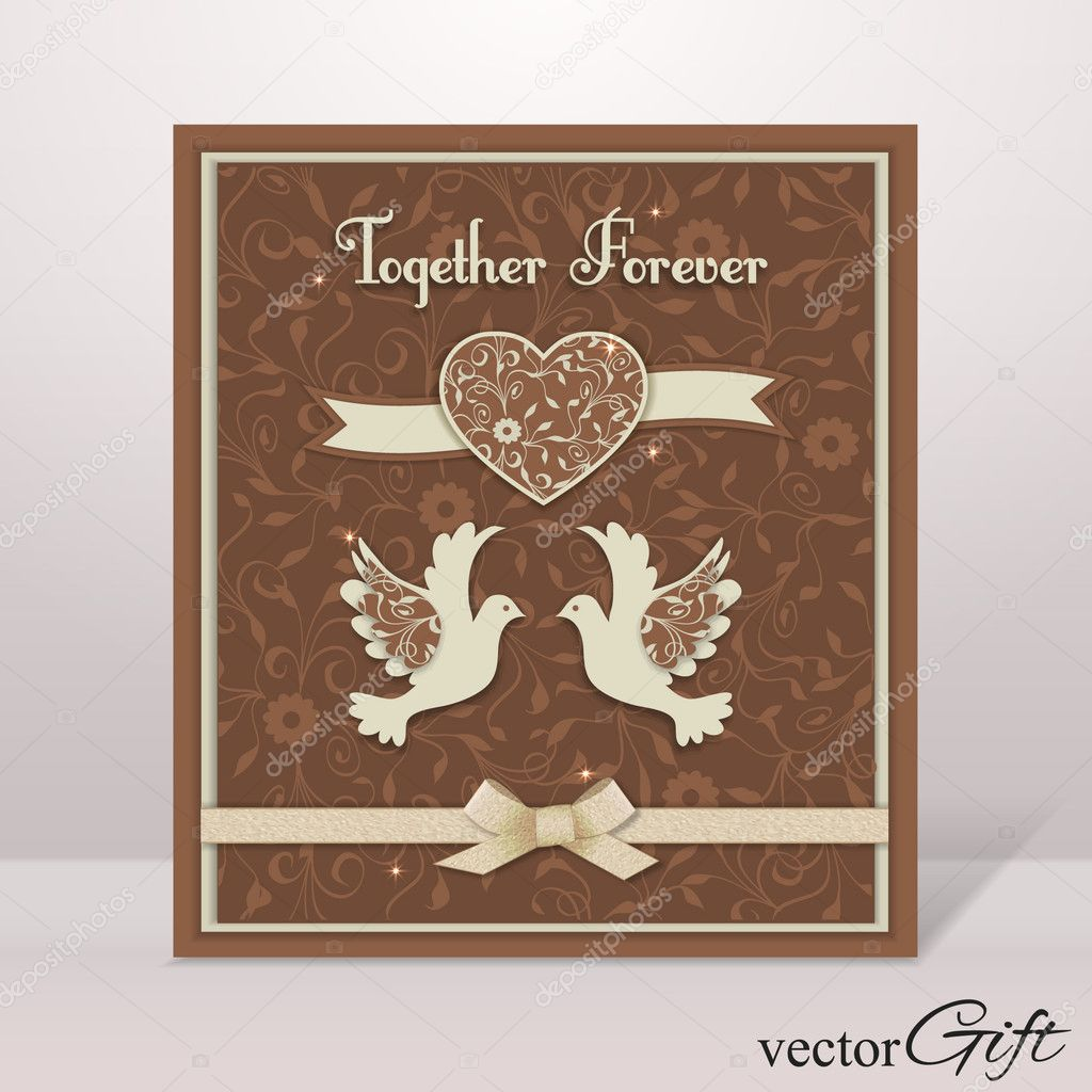 vintage wedding isolated flyer with paper heart doves and. Black Bedroom Furniture Sets. Home Design Ideas