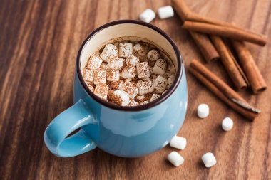 Hot chocolate with mini marshmallow and cinnamon