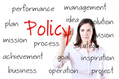 Young business woman writing policy concept. Isolated on white.