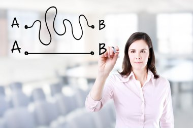 Business woman drawing a concept about the importance of finding the shortest way to move from point A to point B, or finding a simple solution to a problem. Office background.