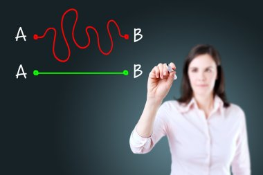 Business woman drawing a concept about the importance of finding the shortest way to move from point A to point B, or finding a simple solution to a problem. Blue background.