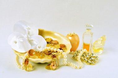 Women's jewelry, perfume and cosmetics