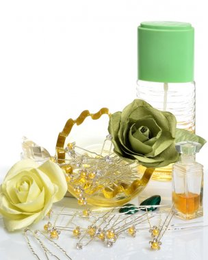 Women's hair ornaments, perfumes and flowers