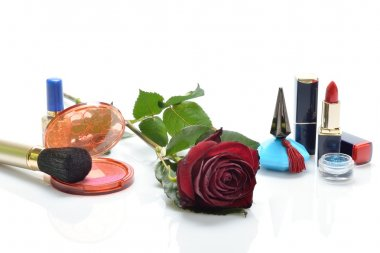 Women's perfumes, cosmetics and a  red rose in still life