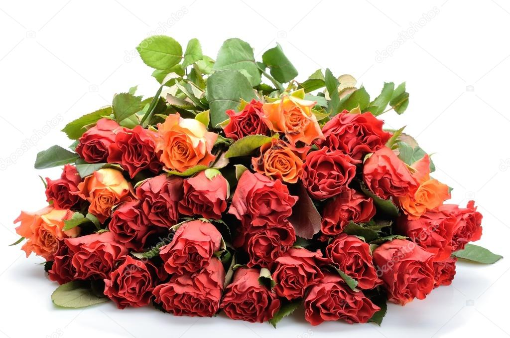 Big beautiful bouquet of flowers roses on a white background — Stock ...
