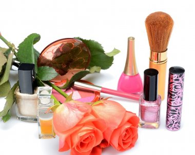 Items woman are used makeup and cosmetics, cosmetic bag and  roses