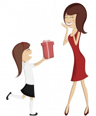 Surprise Mom (colorful and detailed art with a brunette daughter and a mother in red)!