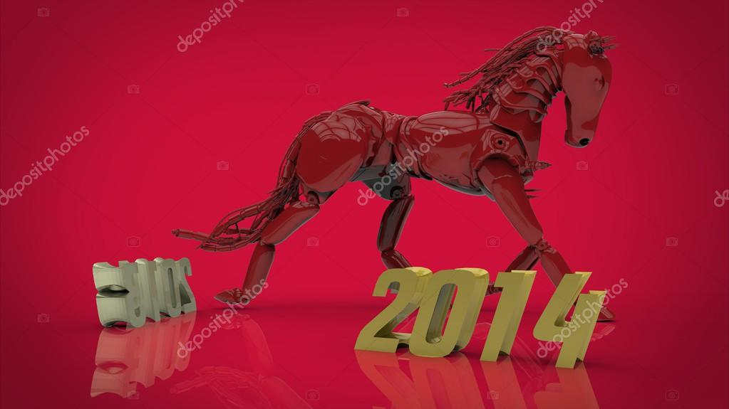 Red robotic horse, 2014