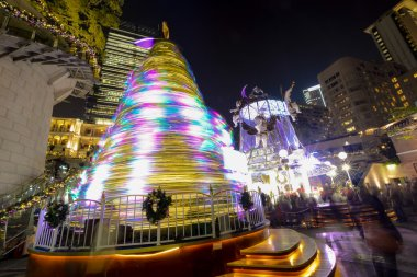 Hong Kong, China - December 31, 2013 : Colorful Christmas tree on the 1881 Heritage. The Former Marine Police Headquarters Compound, constructed in 1884, is located in Tsim Sha Tsui