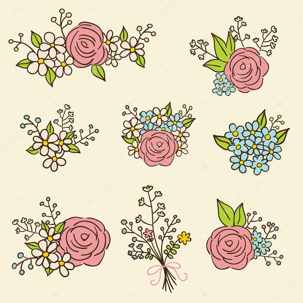 Collection of color vector floral compositions