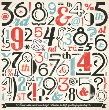 Various Vintage Number and Typography Collection