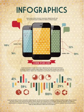 Infographic elements for your documents and reports with three glossy touchscreen mobile phone devices
