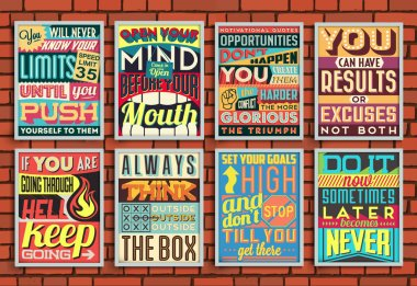 Set of Retro Vintage Motivational Quotes