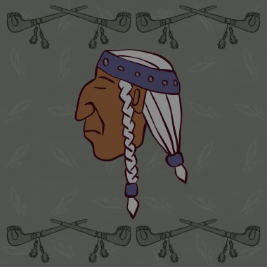 Red Indian head with peace-pipes