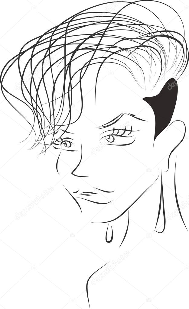 Sketch Of Sexy Woman With Short Haircut With Shaved Temple Stock