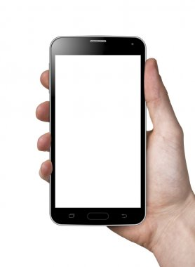 Man hand holding blank white screen smart phone.