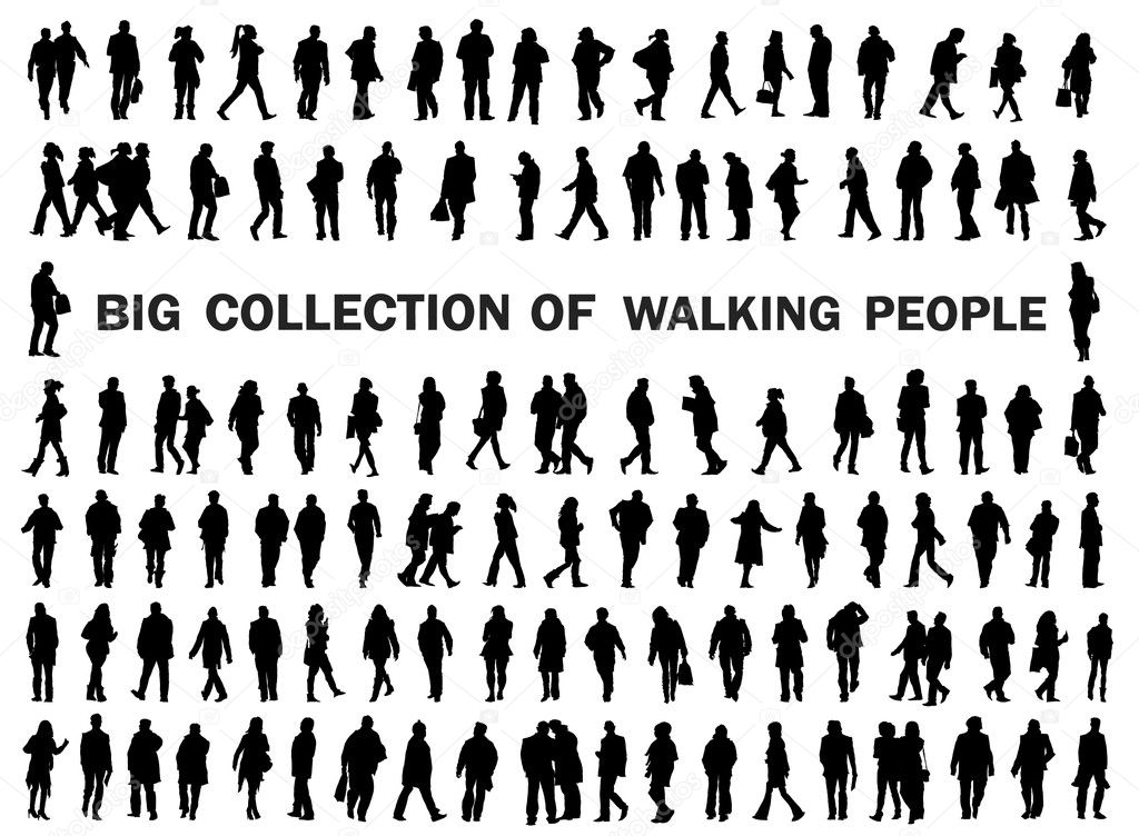 Collection of walking people silhouettes