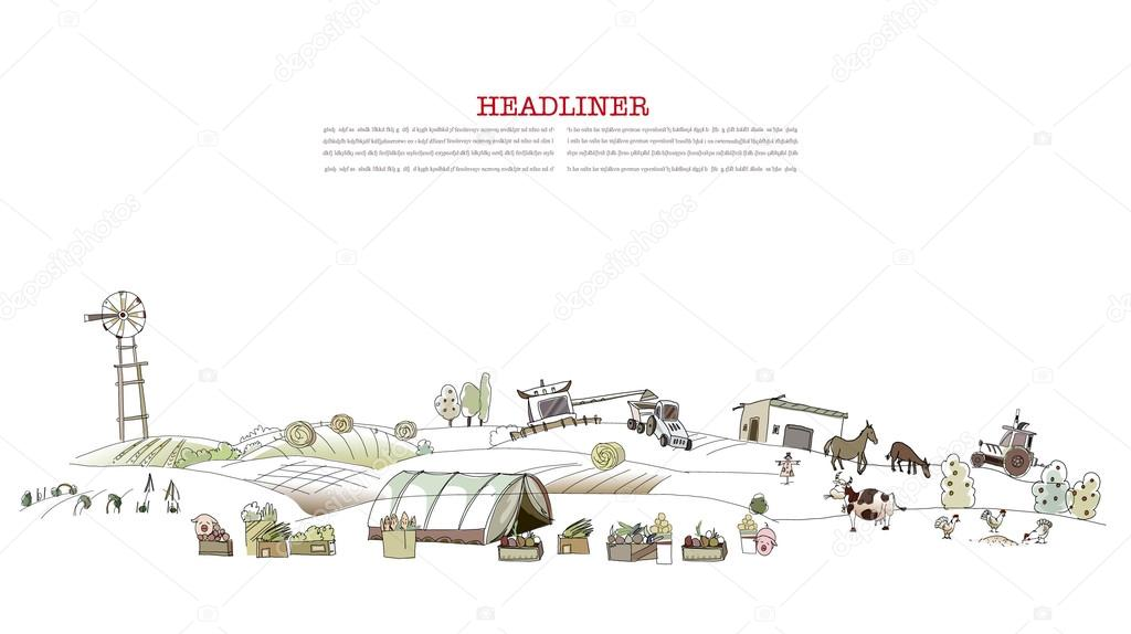 Farm illustration City collection