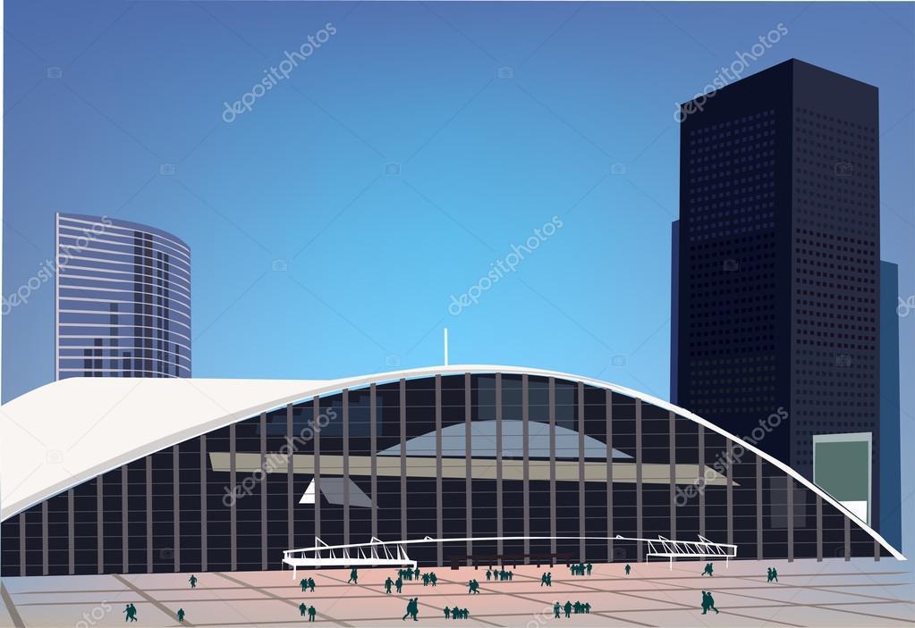 Realistic vector Business center, Modern city illustration