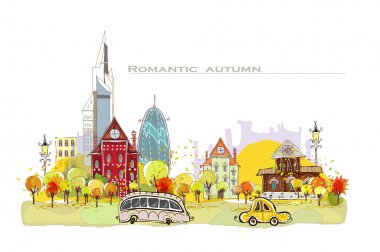 City collection Autumn in the city illustration