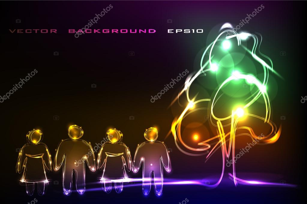 Neon background with people and tree
