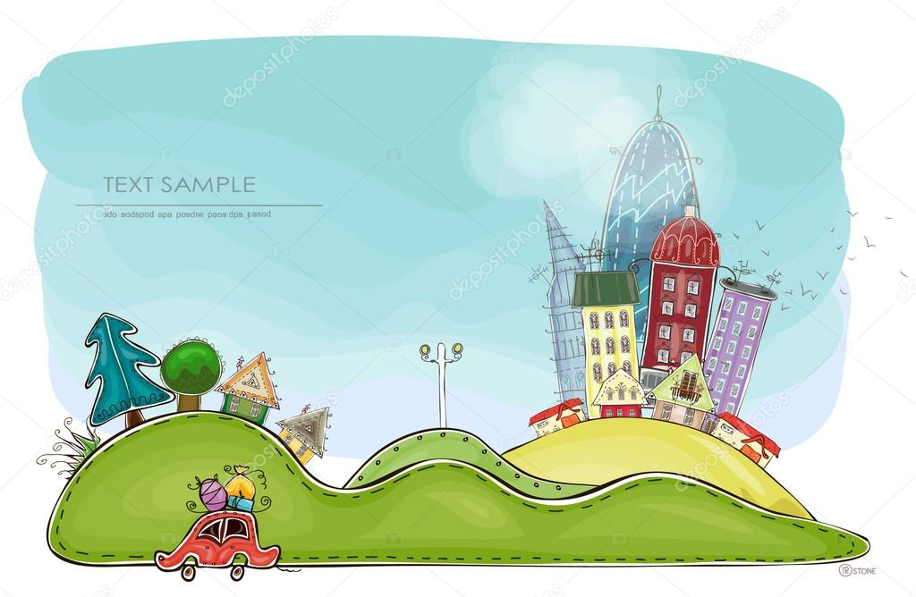 City and village illustration,