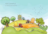 Fotografie Organic farm, Harvest time illustration Happy world collection