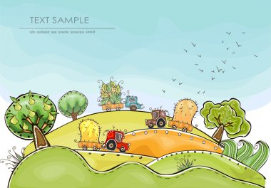 Organic farm, Harvest time illustration