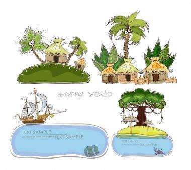 Papradise island, Jungle village Travel background