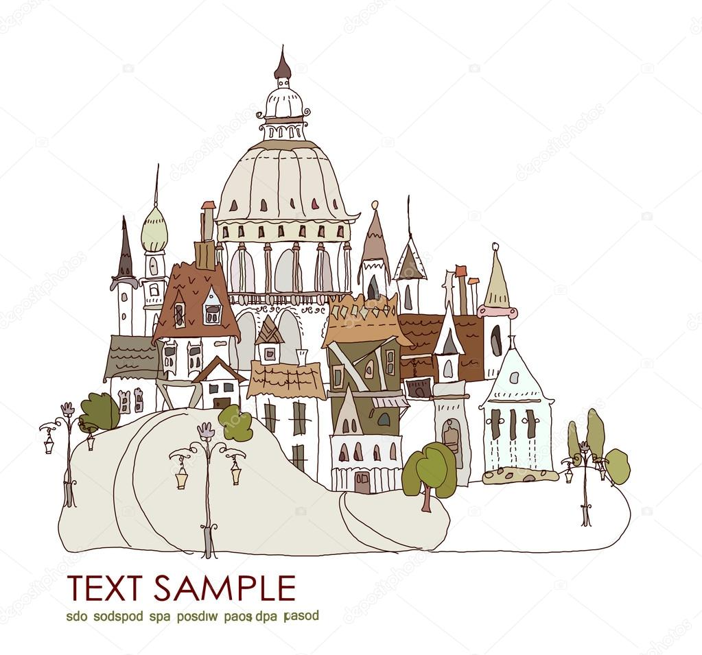 Old city centre background with Cathedral. City collection