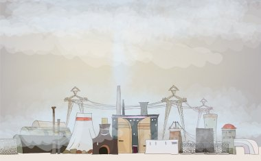 Heavy industry polluted our planet illustration