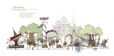 Theme park with rides illustration, City collection