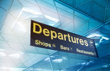 STANSTED AIRPORT, LONDON UK - 23 FEBRUARY 2014: departure sign