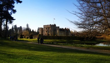 HEVER CASTLE AND GARDENS, KENT,  UK - MARCH 10, 2014: 13th century castle with Tudor manor house and 250 acre of park.