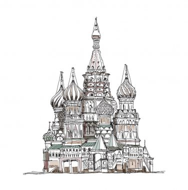 Moscow, sketch collection, St  Vasil cathedral on the Red Square