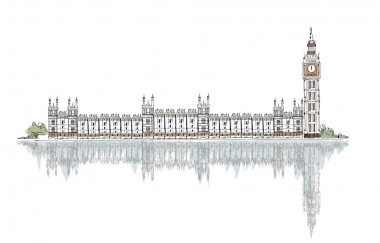 London (iconic buildings) background Parliament and Big Ben
