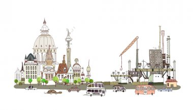 City illustration, City and factory on the busy road
