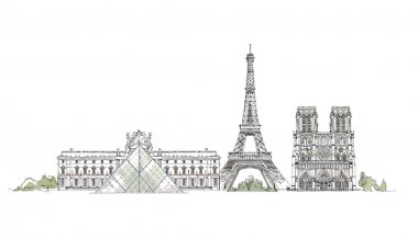 Paris,  sketch collection, Notre dame, Eiffel Tower and Luevre