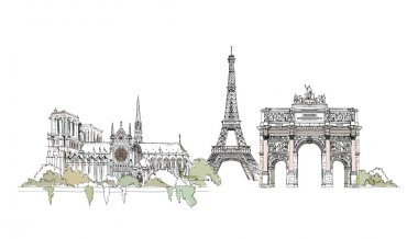 Paris,  sketch collection, Notre dame, Eiffel Tower, Triumph Arch in Paris